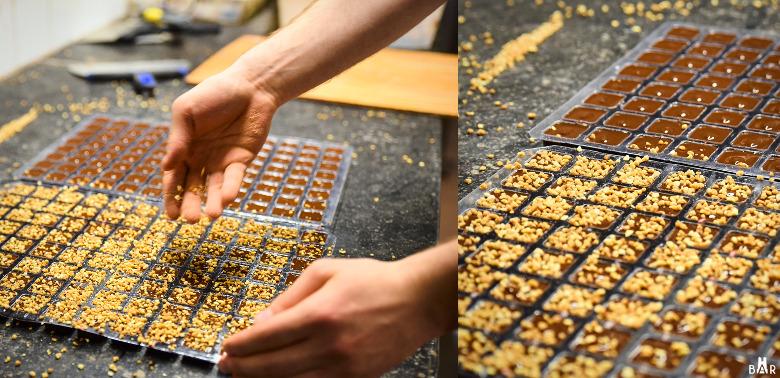 Fabrication des chocolats praliné